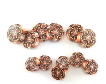 Artisan beads, kaleidoscope beads, orange, yellow and white kaleidoscope round flat beads, Polymer clay beads, set of 12 millefiori beads