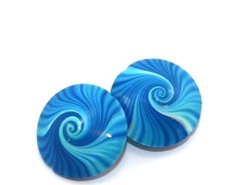 Swirl beads, Polymer Clay lentil beads in blue, turquoise and white, unique pattern, set of 2 elegant beads