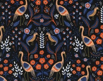 Rifle Paper Co. Tapestry in Black Fabric Modern Les Fleurs Collection Cotton + Steel Collaboration Bird Fabric Anna Bond Peach Coral Peri