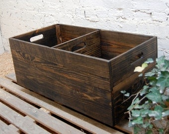 Rolling Crate with Divider/Wooden Crate / Toy Storage/ Reclaimed/ Organization