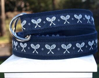Tennis Belt / Tennis Racquet Belt / Navy Belt / Mens Belt / Gifts for Dad / Preppy Belt