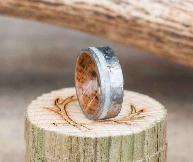 Mens Wedding Band Whiskey Barrel Lined Ring W Antler Inlay