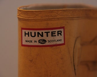 Vintage Hunter Rain Boots Made in Scotland- Yellow Wellies UK-9 US-10 EU-43