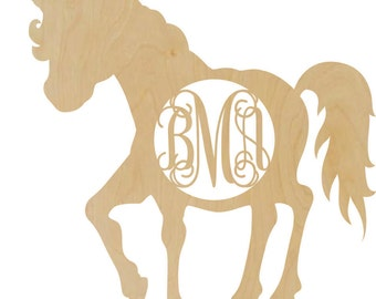 Wooden Unicorn shape with a monogram insert fairytale decor bedroom decor