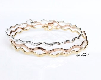 Wavy Bangle Set / Sterling Silver Wavy Bracelet / Rose Gold Wave Bangle / 14k Yellow Gold Fill Chevron Bangles Gift for Her / Boho Jewelry