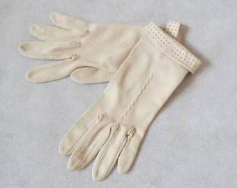 Beige Wrist Gloves With Embossed Cuffs