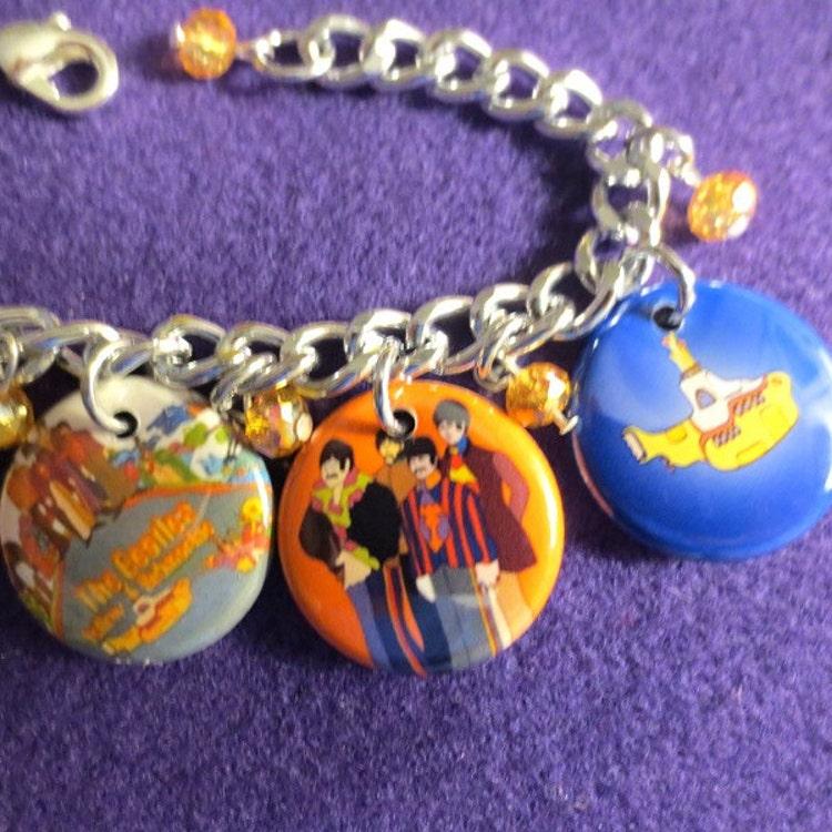 Beatles Charm Bracelet: Beatles Yellow Submarine Charm Bracelet By SharynKBeatlecrafts