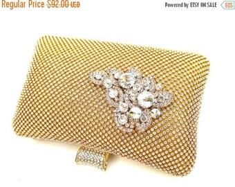 SALE 30% OFF Bridal Clutch, Gold Rhinestone Bridal Clutch, Rhinestone Crystal Wedding Purse, Gold Rhinestone Evening Clutch