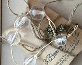 Handmade Bead Bracelet, Glass Bead Bracelet, Rose Charm Bracelet, Clear Glass Bracelet, Edinburgh Jewellery Designer, K Brown Jewellery,