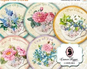 75% OFF SALE Digital Collage Sheet Circle SHABBY Tea Cups 2.5 inches Scrapbooking Digital Tags Instant download