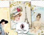 75% OFF SALE Digital sheet CHARMING Paris Digital Collage Sheet Digital Tags French images Instant Download