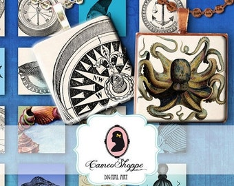 75% OFF SALE THE Seven Seas 1 inch Square Digital Collage Sheet Digital Download