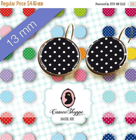 75% OFF SALE Digital collage Sheet Circle POLKA Dots Mix 13 mm Digital Collage Sheet for 12 mm pairs of earrings