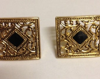 Vintage Art Deco style enamel gold plated stud earrings