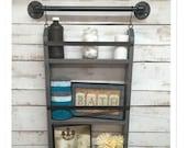 Bathroom ladder shelf, rustic bathroom shelf, industrial shelf, farmhouse shelf, cottage chic, home decor, shelf w/pipe towel bar