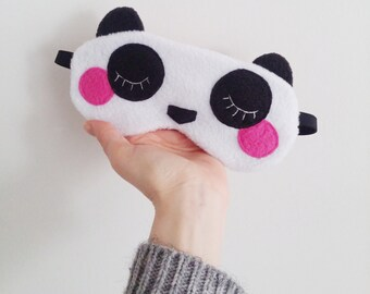 Adjustable panda sleepmask and its matching pouch - Kawaii night mask bear sleep mask