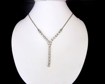 Clear Rhinestone  Y Necklace Silver Plated 16 - 18 Inches