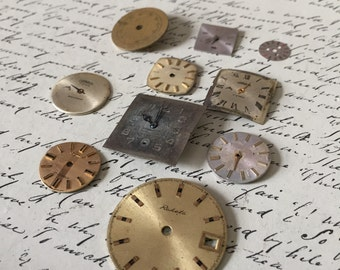 10 vintage watch faces // steampunk supplies // watch parts (lot j)