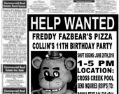 Five nights at Freddy's (FNAF) inspired invitations