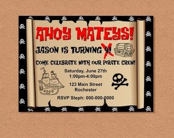 Printable Pirate Party Invitation, Pirate Treasure Map Invitation, Pirate BIrthday Party, Pirate Themed Kid's Birthday Party Invitation