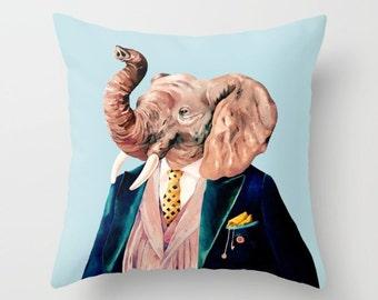 Elephant THROW PILLOW, Blue decor, Elephant Decor, Boys Room Pillow