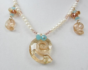 Swarovski Nautilus Shell Necklace, Freshwater Pearls, Gold Filled, Crystals
