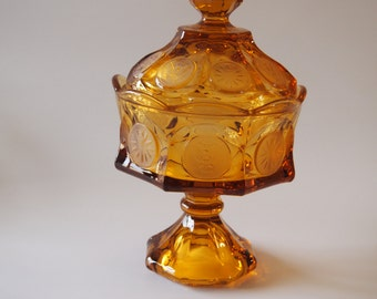 Fostoria Amber Coin Glass Wedding Bowl Candy Dish