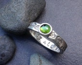 Forest green tourmaline ring,  round stone, simple thick sterling silver band with an abstract leaf and vine design, size 7