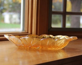 Lily Pons Amber Carnival Glass Relish Dish by Indiana Glass