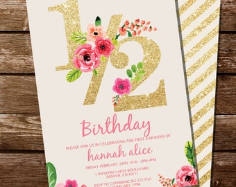 Half Birthday Invitation - Gold Glitter Floral Watercolor 1/2 Birthday Invitation - Instant Download and Edit at home with Adobe Reader