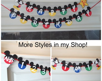 """Mickey Mouse 1st Birthday Banner Party Pack Clubhouse Banner with Age Custom Name Option/Photo Banner/""""I AM 1"""" by FeistyFarmersWife"""