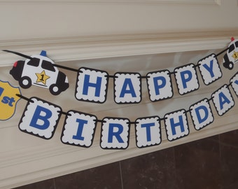 Police Birthday Banner for Policeman Party with Age and Custom Name Option by Feisty Farmers Wife