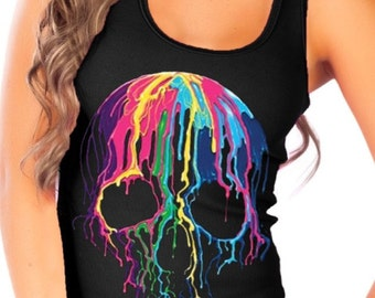 Fashion Vixen Colorful Dripping Skull Black Tank Top - Available in S M L XL Plus Size 1x 2x 3x 4x 5x