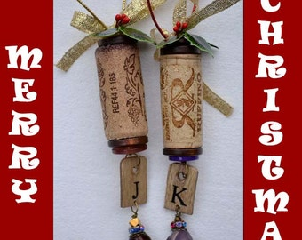 Beautiful and Unique Wine Cork Ornament with Initial, Cork Christmas Ornaments, Personalized Ornament