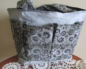 Gray and Black Bingo Bag, Craft Bag, Diaper Bag, Pocket Tote