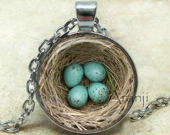 Bird's nest pendant, nest necklace, bird nest necklace, nest pendant, Mom necklace, nest with eggs pendant, eggs pendant, Pendant #AN233P