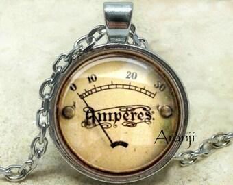 Vintage meter pendant, meter necklace, meter jewelry, vintage meter necklace, steampunk pendant, steampunk, Pendant#HG120P