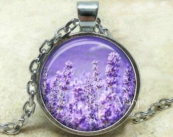 Lavender art pendant, lavender necklace, lavender flower pendant, lavender flower necklace, lavender, lavender jewelry, Pendant#PL117P