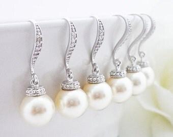 SALE 15% OFF SET of 8 Bridesmaid Gift Wedding Jewelry Bridal Pearl Earrings Bridesmaid Jewelry White Or Cream Swarovski Round Pearl Drop Ear