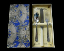 Child's cutlery set, Edward VIII coronation, bone handled knife, silver plated spoon, EPNS fork, boxed set, unused condition