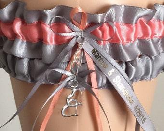Personalized Wedding Garter, Bridal Garter Sets, Silver and Coral Wedding Garter Set, Keepsake Garter, Bridal Gift, Personalized Garter