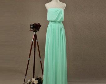 Mint Bridesmaid dress, Strapless Evening dress, Wedding Party dress, Fairy, Dreamy, Formal dress, Prom dress