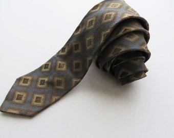 70s Bemberg Skinny Tie, Grey and Brown Rhombus Print, Hipster Suit Accessories, Dapper Groom