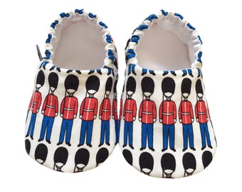 Baby Shoes, London, Queens Guards, Soldiers, British, Baby Pram Shoes, Baby Slippers, soft soled shoes, cruising, pram shoes, little feet