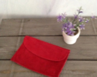 Red suede wallet