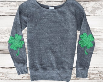 St Patricks Day Sequin Elbow Shamrock Patch Sweatshirt Jumper Womens Sequin Top Holiday Fashion Four Leaf Clover Plus Size Tumblr