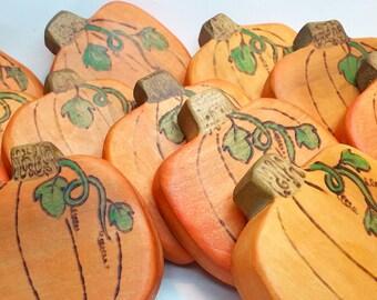 Orange Wooden Pumpkin // Poplar Wood Pumpkin Patch // Wooden Waldorf Toy // Autumn Nature Table