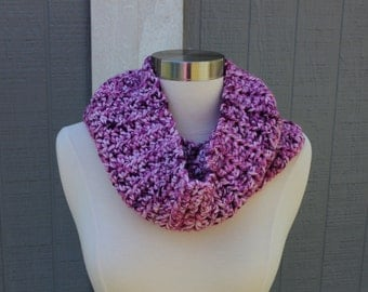 Cozy, Soft, and Warm Crocheted Cowl - Purple Variegated