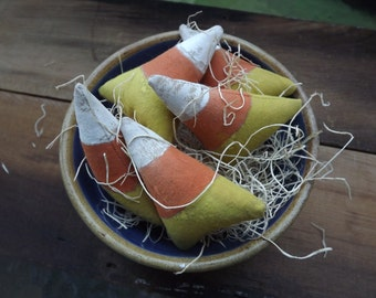 Primitive Candy Corn Bowl Filler Halloween Fall Home Decor Set of 5