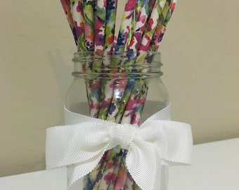 25 Watercolor Flowers Printed Paper Straws / Cake Pop Sticks